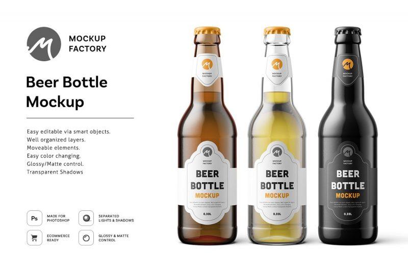 Editable Beer Bottle Mockup PSD