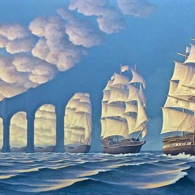 Illusion Painting, Sea, Painting, Ship