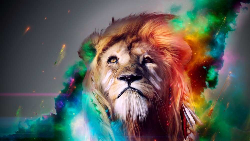 Colored Lion Wallpaper