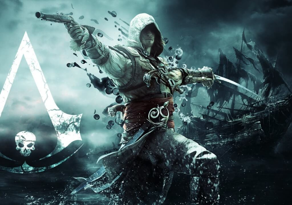 assassins_creed_iv_black_flag_assassin_pirate_edward_kenuey_gun_sword_flag_ship-bestwallpapers-hdwallpapers