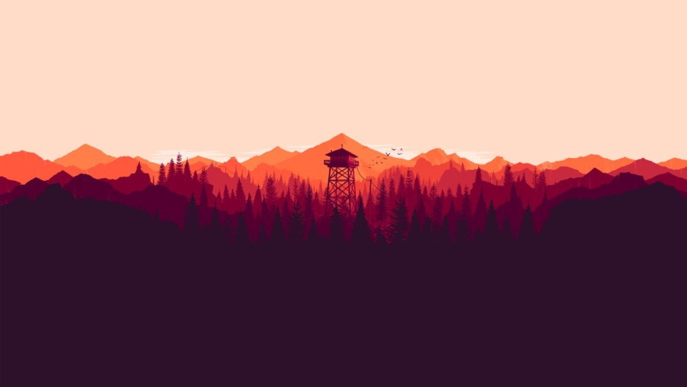 firewatch-best-creative-graphic-wallpapers-mountains-forest-orange-sunset