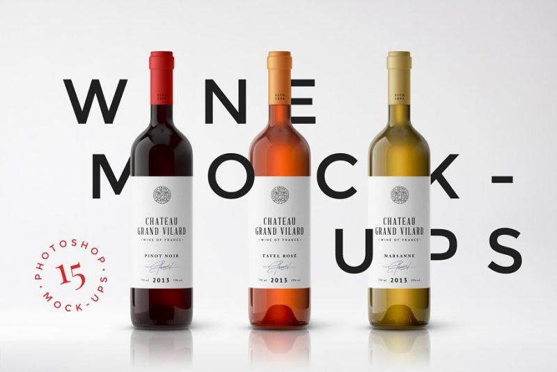 15 Wine Packaging Mockup PSD