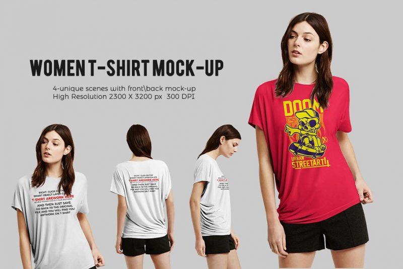 4 Women T Shirt Mockups Presentation