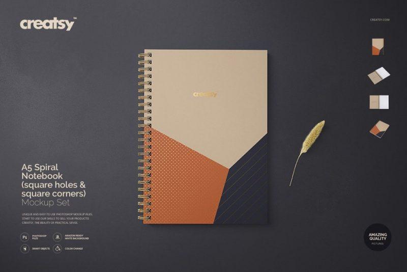 A5 Spiral Notebook Mockup PSD