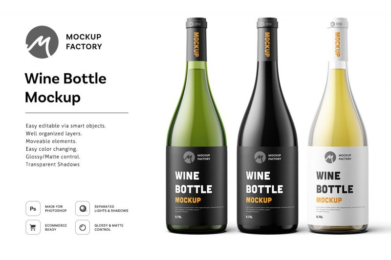 Easy editable Wine Branding Mockup