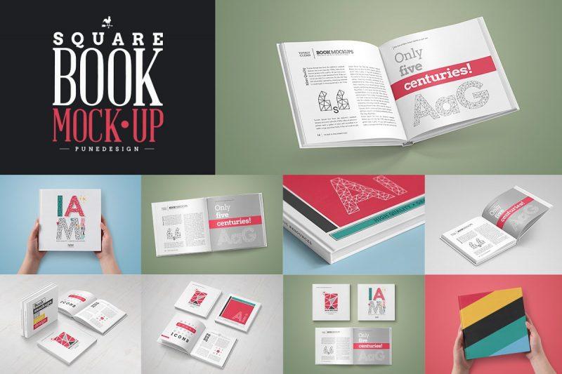 Editable Square Book Mockup PSD