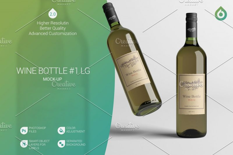High Resolution Wine Bottle Mockup