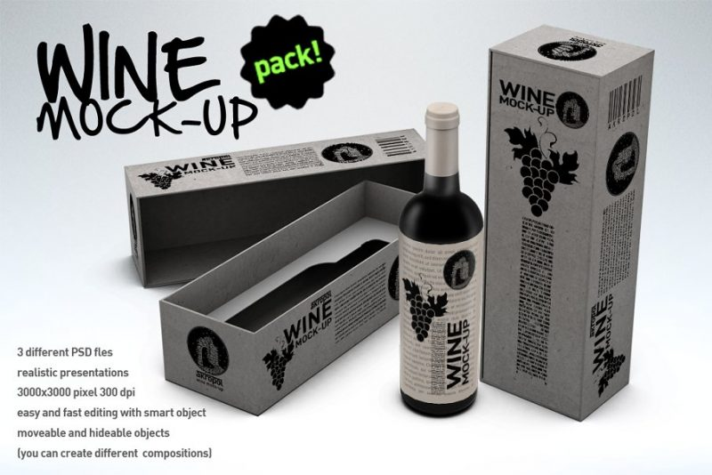 Realistic Wine Packaging Mockup