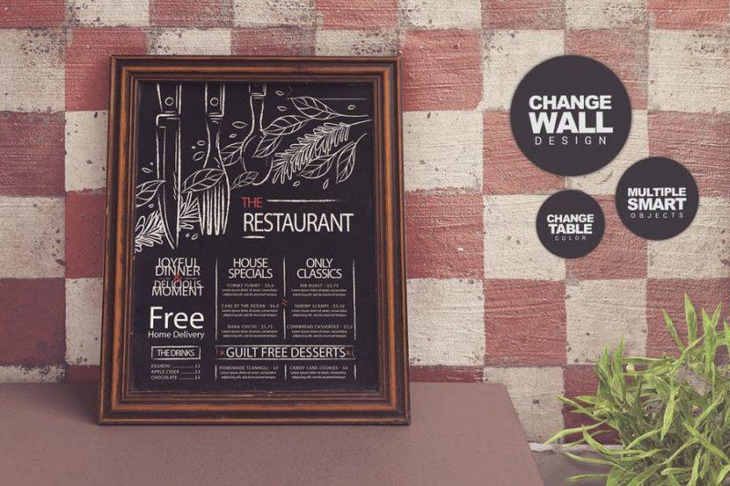 Restaurant Chalkboard Mockup PSD