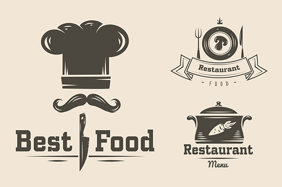 logo, food, restaurant, design, vector, vintage, template, label, retro, menu, business, icon, cooking, element, drink, emblem, sign, symbol, typography, type