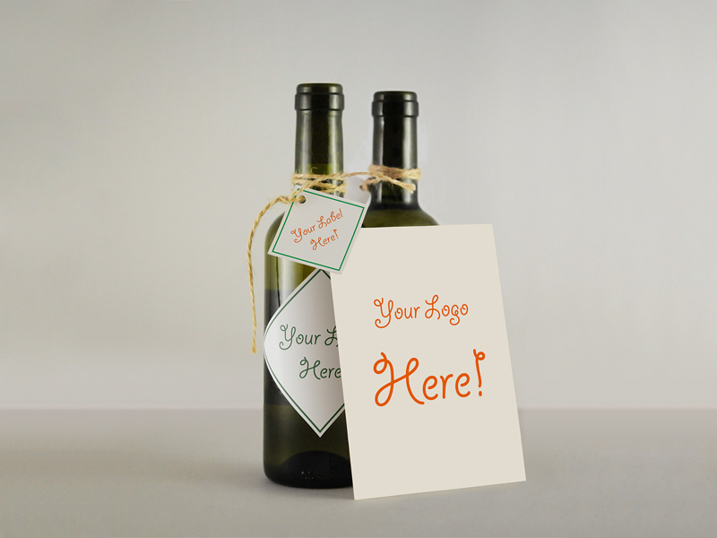Wine Bottle With Gift Card Mockup