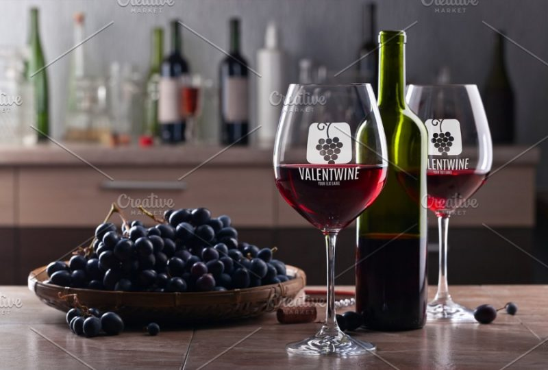 Wine Glasses on Table Mockup