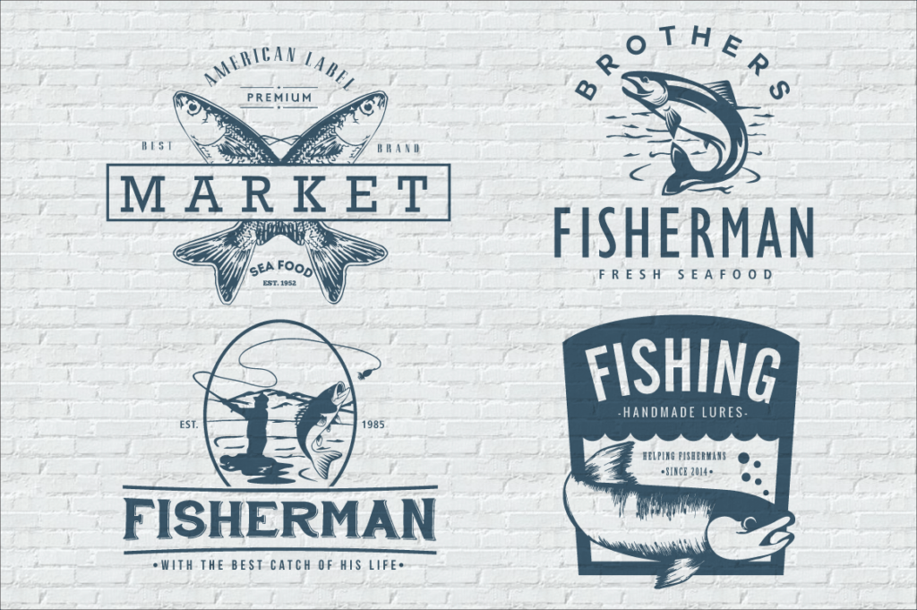 fish, fishing, lure, fisherman, tuna, salmon, pesce, pesci, peste, pesti, badges, vintage, insignia, vector, illustrator