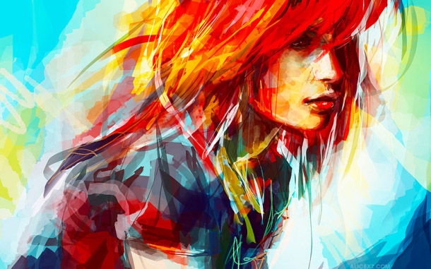 colorful-digital-painting-by-alicezhang beautiful women 4