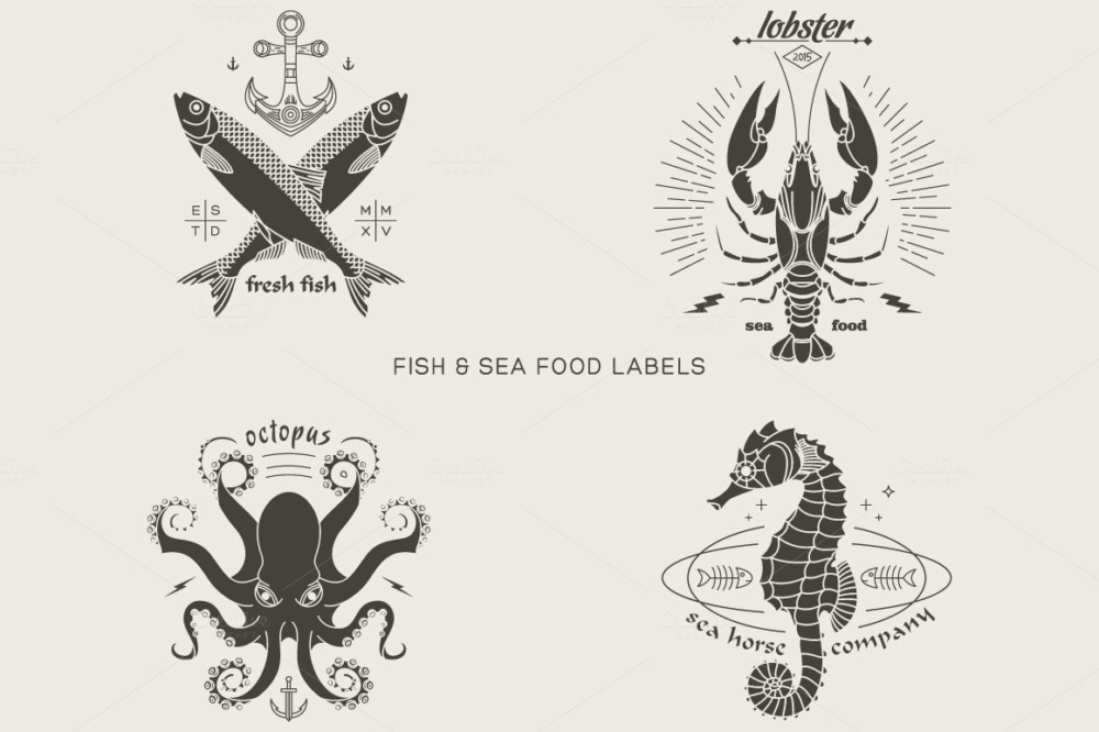 emblem, logo, insignia, identity, hipster, shirt, print, abstract, vintage, fish, seafood, lobster, octopus, sea horse, fresh