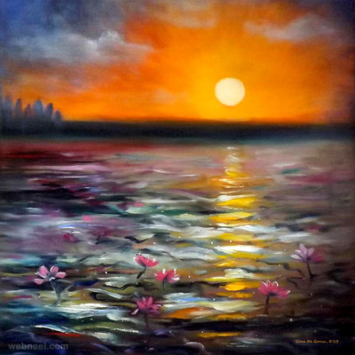 Painting Sunrise Sunset Moon Painting Rise Pictures Sunset Oil