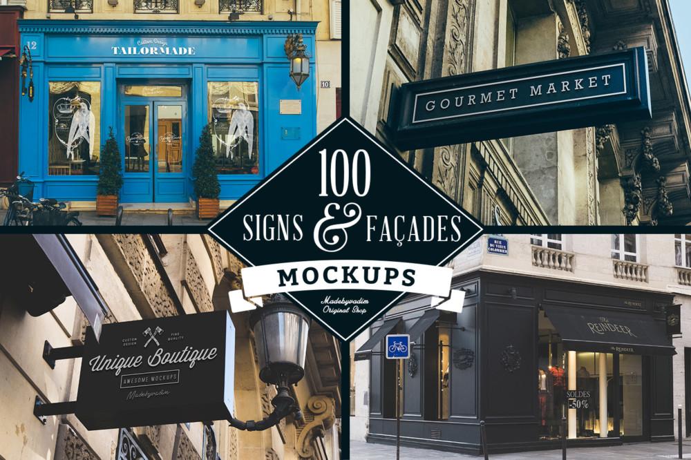 100 Restaurant Signs Mockup