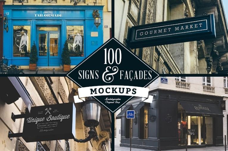 100 Signs Mockup PSD