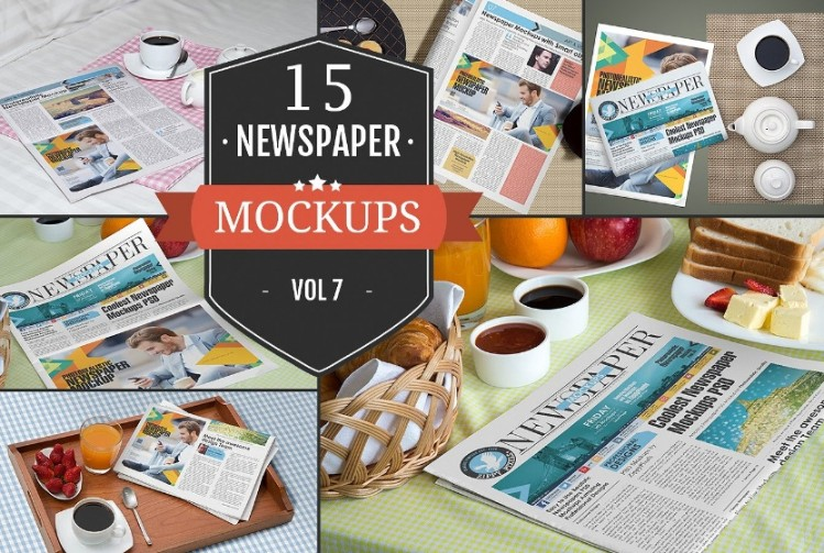 15 Newspaper Mockups Bundle