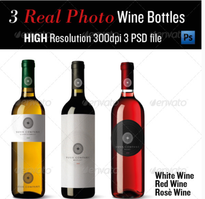 3 Realistic Wine Bottle Mockup