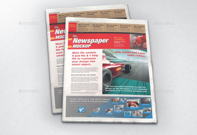 3 in 1 Newspaper Mockup PSD