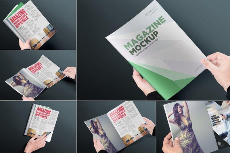 6 Unique Magazine Mockup PSD