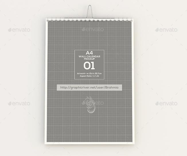 A4 Wall Calendar Mockup PSD