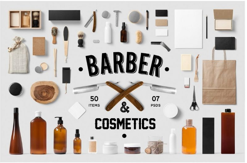 Barber Saloon Mockup PSD