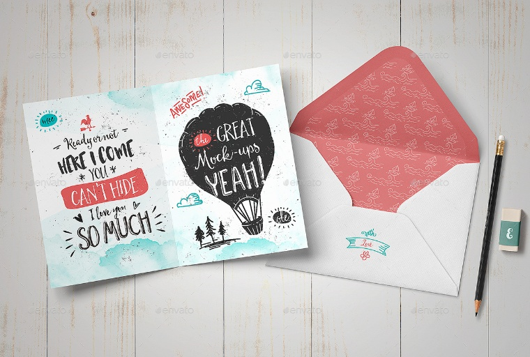Bi Folded Greeting Card Mockup