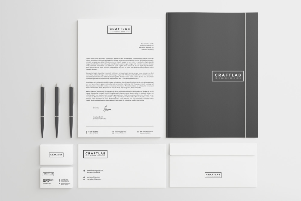 Black and White Stationary Mockup