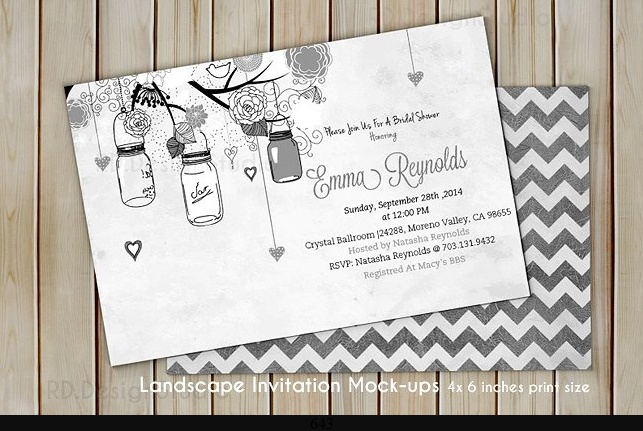 Bridal Shower Invitation Card Mockup