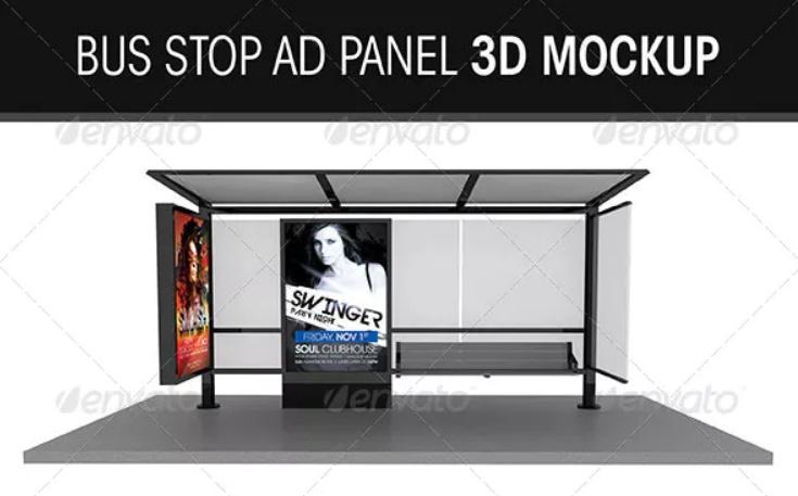 Bus Shelter Ad Mockup PSD