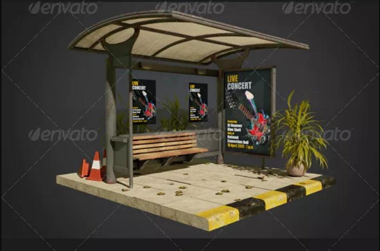 Bus Shelter Ad Mockup