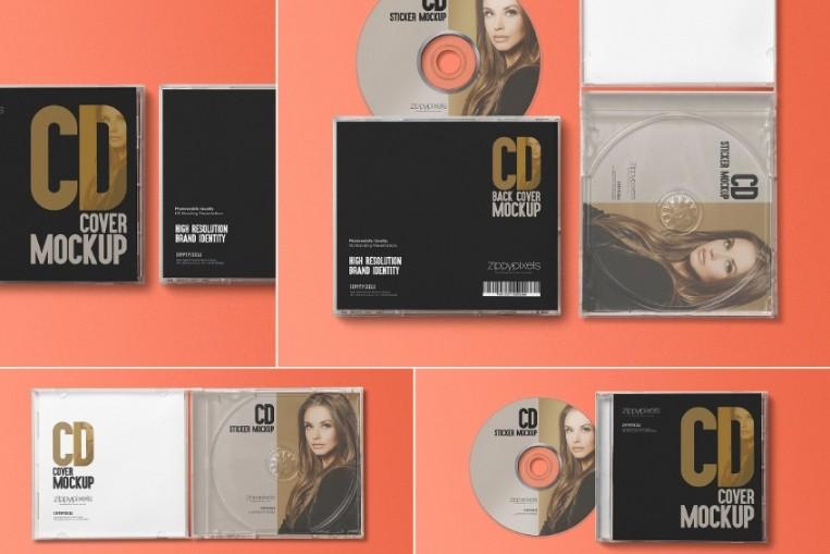 CD Label Case Mockup PSD