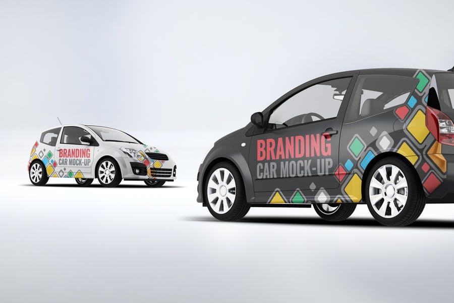 City Car Branding Mockup PSD