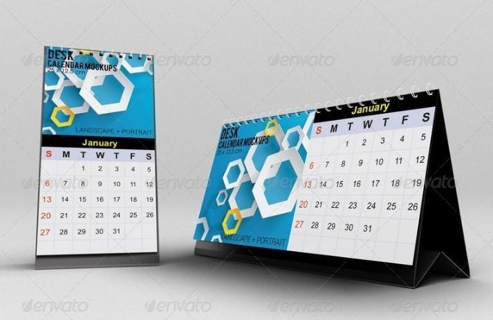 Clean Desk Calendar Mockup PSD