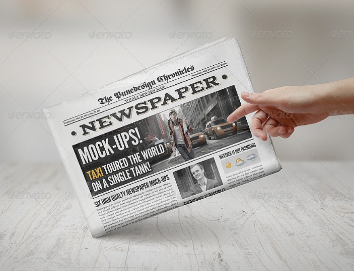 Customizable Newspaper Mockup PSD
