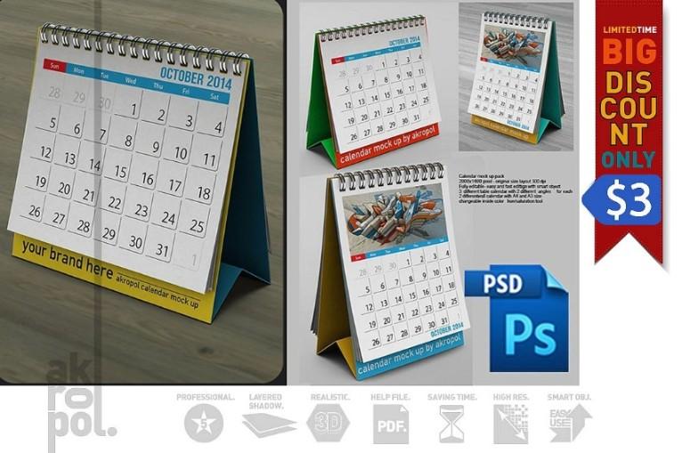 Editable Calendar Mockup PSD