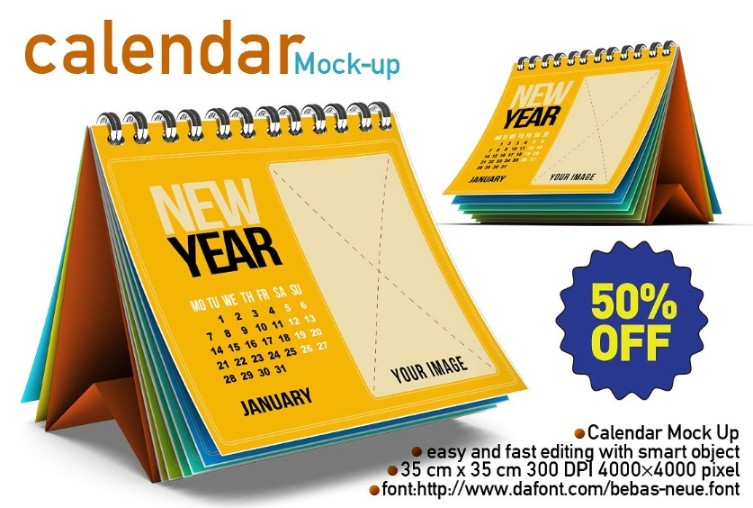 Editable Calendar Mockup