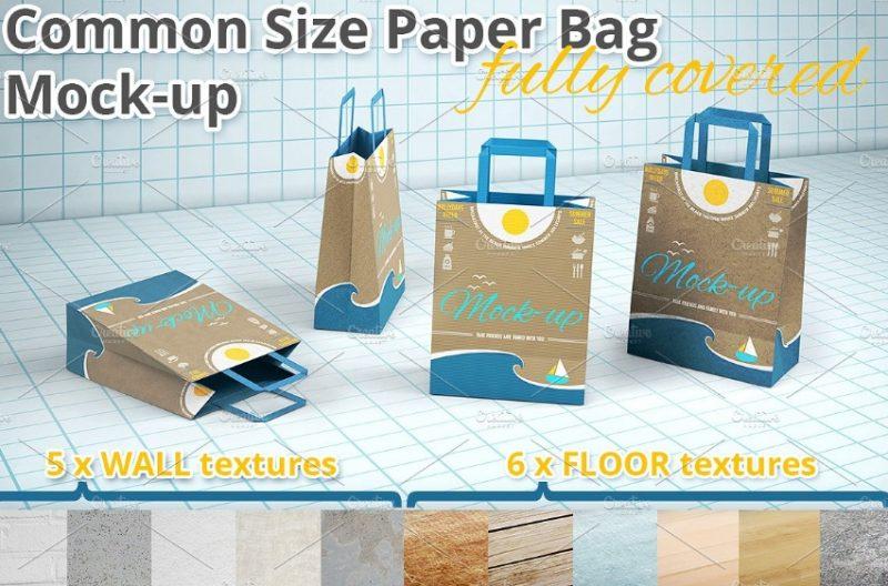 Editable Paper Bag Mockup PSD