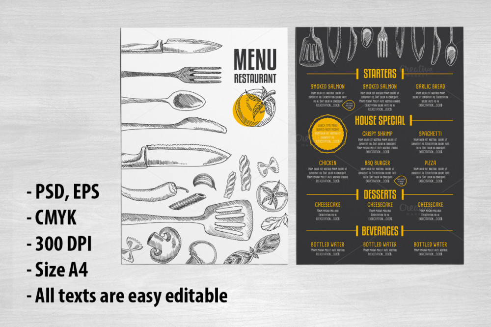 Editable Restaurant Menu Mockup