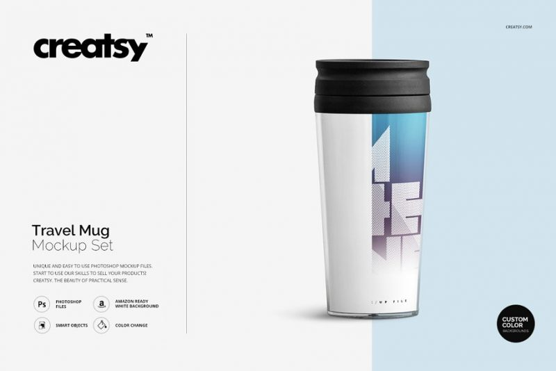 Editable Travel Mug Mockup