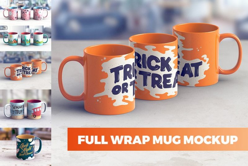 Full Wrap Mug Design Mockup