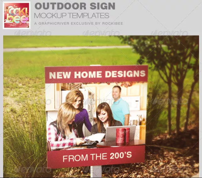 Home Sign Mockup PSD