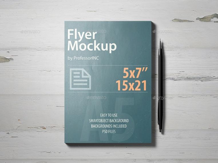 Layered A5 Flyer Mockup PSD