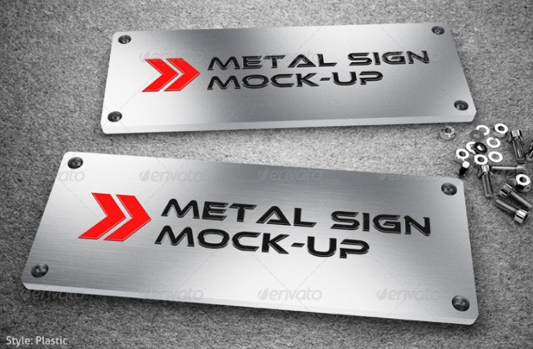 Metal Sign Mockup PSD