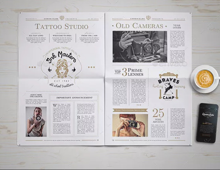 Photo Realistic Newspaper Mockup PSD