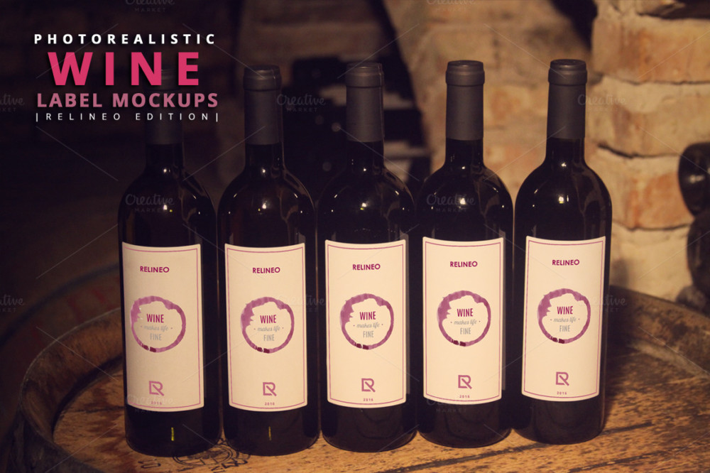 Photorealistic Wine Label Mockup