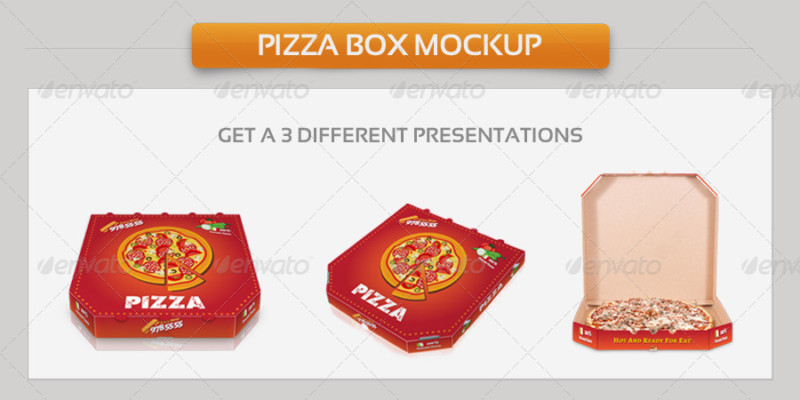 Pizza Box Packaging Mockup PSD