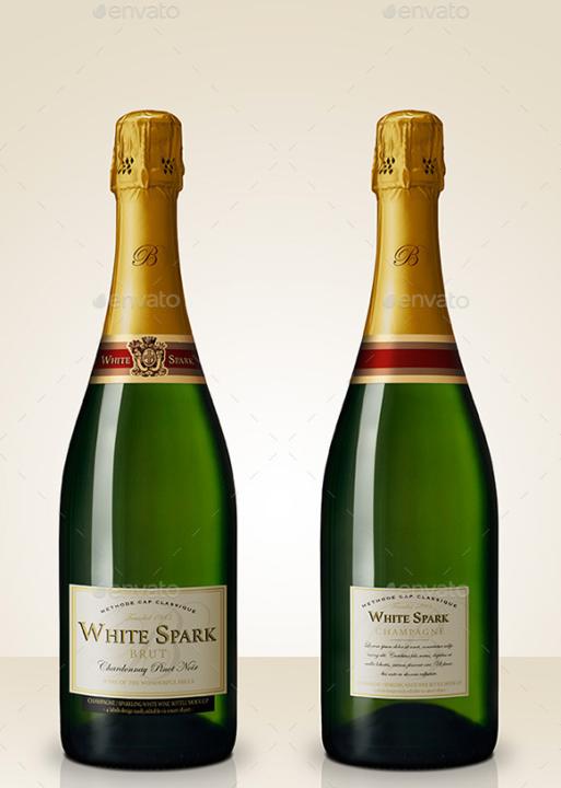 Premium Champagne Bottle PSD Mockup
